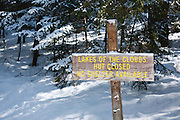 Lakes of the Clouds Hut sign on the Ammonoosuc Ravine Trail in the White Mountain National Forest of New Hampshire USA.