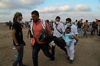 Protests continue between Palestinians and Israeli security forces over the fence between Gaza and Israel east of Khuza'a in the southern Gaza Strip , sept 12, 2019<br /> <br /> PHOTO : Agence Quebec Presse  - YOUSEF MASOUD