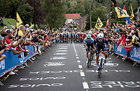 Remco Evenepoel (BEL/Deceuninck-Quick Step) tirelessly jumping at every move at the front of the race.<br /> <br /> Elite Men World Championships - Road Race<br /> from Antwerp to Leuven (268.3km)<br /> <br /> UCI Road World Championships - Flanders Belgium 2021<br /> <br /> ©kramon