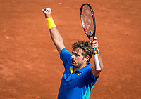Paris, France, 5 June, 2017, Tennis, French Open, Roland Garros,  Stan Wawrinka (SUI) in jubilation after winning  his match against  Gael Monfils <br /> Photo: Henk Koster/tennisimages.com