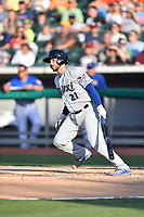 Biloxi Shuckers catcher Dustin Houle (21) swings at a pitch during a game against the Tennessee Smokies at Smokies Stadium on May 26, 2017 in Kodak, Tennessee. The Smokies defeated the Shuckers 3-2. (Tony Farlow/Four Seam Images)