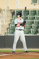 Chance Sisco (23) of the Delmarva Shorebirds at bat against the Kannapolis Intimidators at CMC-NorthEast Stadium on July 1, 2014 in Kannapolis, North Carolina.  The Intimidators defeated the Shorebirds 5-2. (Brian Westerholt/Four Seam Images)