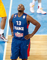 "France`s  Boris Diaw gestures during European basketball championship ""Eurobasket 2013"" semifinal basketball game between Spain and France in Stozice Arena in Ljubljana, Slovenia, on September 20. 2013. (credit: Pedja Milosavljevic  / thepedja@gmail.com / +381641260959)"