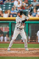 Josh Rojas (6) of the Fresno Grizzlies bats against the Salt Lake Bees at Smith's Ballpark on September 3, 2017 in Salt Lake City, Utah. The Bees defeated the Grizzlies 10-8. (Stephen Smith/Four Seam Images)