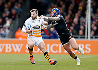Photo: Richard Lane/Richard Lane Photography. Exeter Chiefs v Wasps. Gallagher Premiership. 14/04/2019.  Wasps' Elliot Daly is tackled by Chiefs' Jack Nowell.
