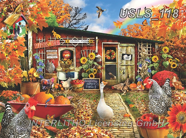 Lori, REALISTIC ANIMALS, REALISTISCHE TIERE, ANIMALES REALISTICOS, zeich, paintings+++++Autumn Chickens_10_12in_300_CMYK,USLS118,#a#, EVERYDAY ,puzzle,puzzles