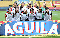 BOGOTA - COLOMBIA - 07 - 05 - 2017: Las jugadoras de Cucuta Deportivo, posan para una foto, durante partido de la fecha 10 entre Independiente Santa Fe y Cucuta Deportivo, por la Liga Femenina , en el estadio Nemesio Camacho El Campin de la ciudad de Bogota. / The players of Cortulua, pose for a photo during a match of the date 10 for the Liga Femenina Aguila 2017, between Independiente Santa Fe and Cucuta Deportivo,  at the Nemesio Camacho El Campin Stadium in Bogota city, Photo: VizzorImage / Luis Ramirez / Staff.