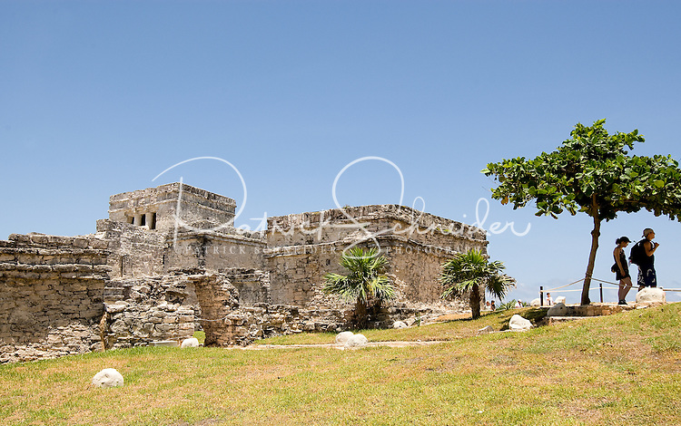 The archaeological site Tulum, near Cancun, Mexico, is considered one of the best-preserved coastal Maya sites. The site is popular with tourists because of its proximity to the many Mexican Riviera resorts and its picturesque view of the Caribbean Sea.