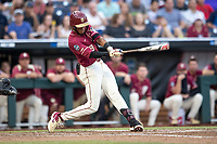 Florida State Seminoles outfielder JC Flowers (8) swings the bat during Game 9 of the NCAA College World Series against the Texas Tech Red Raiders on June 19, 2019 at TD Ameritrade Park in Omaha, Nebraska. Texas Tech defeated Florida State State 4-1. (Andrew Woolley/Four Seam Images)
