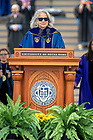 May 23, 2021; Provost Marie Lynn Miranda delivers her address during the 176th Commencement Ceremony at Notre Dame Stadium. (Photo by Barbara Johnston/University of Notre Dame)