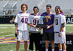 Albany captains Kyle McClancy (#40), JD Colarusso (#9), Connor Fields (#5), and Troy Reh (#10) receive the tournament trophy as UAlbany Lacrosse defeats Vermont 14-4  in the American East Conference Championship game at Casey Stadium, May 5.