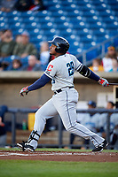 Lake County Captains first baseman Emmanuel Tapia (28) follows through on a swing during a game against the Quad Cities River Bandits on May 6, 2017 at Modern Woodmen Park in Davenport, Iowa.  Lake County defeated Quad Cities 13-3.  (Mike Janes/Four Seam Images)