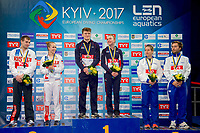 10 m. Mixed platform podium Viktor Minibaev - Iuliia Timoshinina RUS Silver Medal; Matthew Kee - Lois Tolson GBR  Gold Medal; Noemi Batki - Maicol Verzotto ITA Bronze medal<br /> 10 m. Mixed platform podium<br /> LEN European Diving Championships 2017<br /> Sport Center LIKO, Kiev UKR<br /> Jun 12 - 18, 2017<br /> Day05 16-06-2017<br /> Photo © Giorgio Scala/Deepbluemedia/Insidefoto