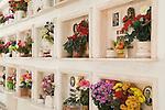 Capalbio Tuscany Italy. Flowers at a family wall vault.