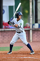 Pulaski Yankees second baseman Eduardo Torrealba (13) awaits a pitch during a game against the Elizabethton Twins at Joe O'Brien Field on June 27, 2016 in Elizabethton, Tennessee. The Yankees defeated the Twins 6-4. (Tony Farlow/Four Seam Images)