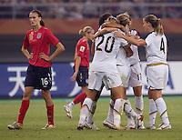 USA Goal, Jill Scott. The USA defeated England, 3-0 during the quarterfinals of the FIFA Women's World Cup in Tianjin, China.  The USA defeated England, 3-0.