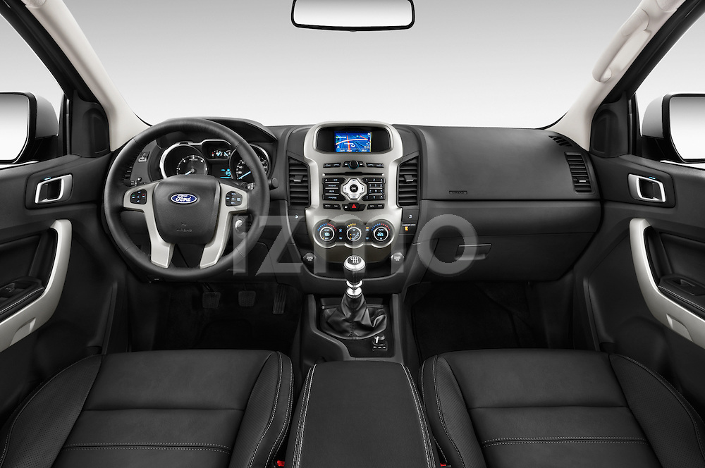 Stock photo of straight dashboard view of2014 Ford Ranger Limited 4 Door Pickup Dashboard