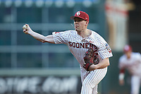 Oklahoma Sooners relief pitcher Wyatt Olds (15) in action against the Arkansas Razorbacks in game two of the 2020 Shriners Hospitals for Children College Classic at Minute Maid Park on February 28, 2020 in Houston, Texas. The Sooners defeated the Razorbacks 6-3. (Brian Westerholt/Four Seam Images)