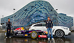 Infiniti Red Bull Racing driver and Formula One triple World Champion Sebastian Vettel (R) of Germany and former F1 driver David Coulthard  of Scotland pose for a photograph in front of the Iceberg Skating Palace before they sample the new Russian Grand Prix venue at Sochi Olympic Park on 22 April 2013 in Sochi, Russia. Photo by Victor Fraile / The Power of Sport Images