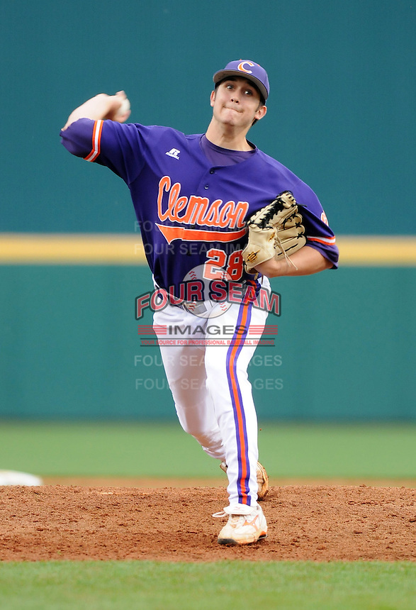 Pitcher Jonathan Meyer (28) of the Clemson Tigers in a game against the South Carolina Gamecocks on March 3, 2012, at Carolina Stadium in Columbia, South Carolina. Carolina won, 9-6. (Tom Priddy/Four Seam Images)