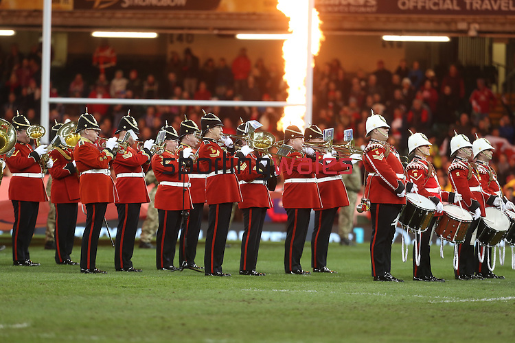Band of the Welsh Guards<br /> <br /> Dove Men Series 2013<br /> Wales v Tonga<br /> Millennium Stadium - Cardiff<br /> 22.11.13<br /> ©Steve Pope-SPORTINGWALES