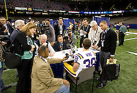Brad Wing of LSU talks with the reporters during BCS Media Day at Mercedes-Benz Superdome in New Orleans, Louisiana on January 6th, 2012.