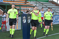 referee Caroline Lanssens with assistant referee Ella De Vries (R) and Timmy Vande Velde (L)  pictured during a female soccer game between SV Zulte - Waregem and Eendracht Aalst on the 17 th matchday of the 2020 - 2021 season of Belgian Scooore Womens Super League , saturday 20 th of March 2021  in Zulte , Belgium . PHOTO SPORTPIX.BE | SPP | DIRK VUYLSTEKE