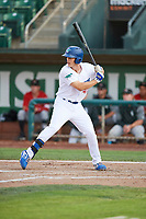 James Outman (47) of the Ogden Raptors bats against the Great Falls Voyagers at Lindquist Field on August 22, 2018 in Ogden, Utah. Great Falls defeated Ogden 3-1. (Stephen Smith/Four Seam Images)