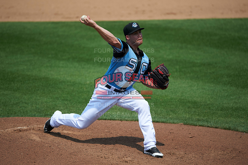 Syracuse Chiefs pitcher Eric Fornataro (23) delivers a pitch during a game against the Pawtucket Red Sox on July 6, 2015 at NBT Bank Stadium in Syracuse, New York.  Syracuse defeated Pawtucket 3-2.  (Mike Janes/Four Seam Images)