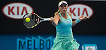 Caroline Wozniacki (DEN) loses to Victoria Azarenka (BLR) 6-4, 6-2 at the Australian Open being played at Melbourne Park in Melbourne, Australia on January 22, 2015