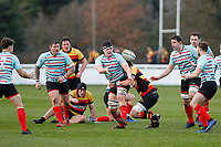 Jamie Ure of Blackheath Rugby passing the ball during the English National League match between Richmond and Blackheath  at Richmond Athletic Ground, Richmond, United Kingdom on 4 January 2020. Photo by Carlton Myrie.