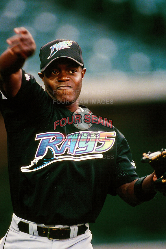 Quinton McCracken of the Tampa Bay Devil Rays during a game against the Anaheim Angels at Angel Stadium circa 1999 in Anaheim, California. (Larry Goren/Four Seam Images)
