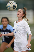Rogers' Allison Golden (11) controls the ball Tuesday, April 27, 2021, as Springdale Har-Ber's Alondra Barron defends during the first half of play at Wildcat Stadium in Springdale. Visit nwaonline.com/210428Daily/ for today's photo gallery. <br /> (NWA Democrat-Gazette/Andy Shupe)