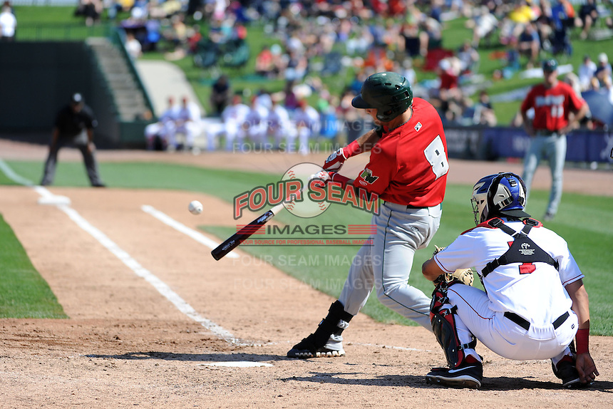 Fort Wayne TinCaps second baseman Maxx Tissenbaum (8) hits a double during a game against the Great Lakes Loons on August 18, 2013 at Dow Diamond in Midland, Michigan.  Fort Wayne defeated Great Lakes 4-3.  (Mike Janes/Four Seam Images)