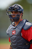 GCL Twins catcher Sergio Toribio (8) during a Gulf Coast League game against the GCL Pirates on August 6, 2019 at Pirate City in Bradenton, Florida.  GCL Twins defeated the GCL Pirates 1-0 in the second game of a doubleheader.  (Mike Janes/Four Seam Images)