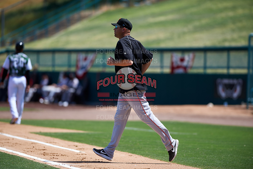 Inland Empire 66ers pitching coach Michael Wuertz (48) during a California League game against the Lake Elsinore Storm on April 14, 2019 at The Diamond in Lake Elsinore, California. Lake Elsinore defeated Inland Empire 5-3. (Zachary Lucy/Four Seam Images)
