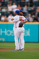 Buffalo Bisons Richard Urena (16) hugs Bo Bichette (13) after an International League game against the Norfolk Tides on June 21, 2019 at Sahlen Field in Buffalo, New York.  Buffalo defeated Norfolk 2-1, the first game of a doubleheader.  (Mike Janes/Four Seam Images)