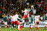 Harrison, NJ - Tuesday April 10, 2018: Tim Parker, Jesús Godinez, Rodolfo Cota during leg two of a  CONCACAF Champions League semi-final match between the New York Red Bulls and C. D. Guadalajara at Red Bull Arena. C. D. Guadalajara defeated the New York Red Bulls 0-0 (1-0 on aggregate).