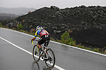 Jonathan Caicedo (ECU) EF Pro Cycling out front alone on the slopes of Mount Etna during Stage 3 of the 103rd edition of the Giro d'Italia 2020 running 150km from Enna to Etna (Linguaglossa-Piano Provenzana), Sicily, Italy. 5th October 2020.  <br /> Picture: LaPresse/Fabio Ferrari | Cyclefile<br /> <br /> All photos usage must carry mandatory copyright credit (© Cyclefile | LaPresse/Fabio Ferrari)