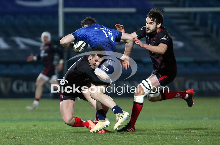 8th January 2021   Leinster vs Ulster <br /> <br /> Robbie Henshaw is tackled by Billy Burns and Greg Jones  during the PRO14 Round 11 clash between Leinster Rugby and Ulster Rugby at the RDS Arena, Ballsbridge, Dublin, Ireland. Photo by John Dickson/Dicksondigital