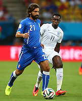 Andrea Pirlo of Italy and Daniel Welbeck of England in action