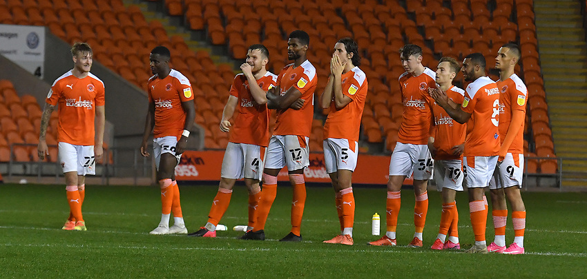 The Blackpool players look nervous during the penalty shoot out<br /> <br /> Photographer Dave Howarth/CameraSport<br /> <br /> EFL Trophy Northern Section Group G - Blackpool v Barrow - Tuesday 8th September 2020 - Bloomfield Road - Blackpool<br />  <br /> World Copyright © 2020 CameraSport. All rights reserved. 43 Linden Ave. Countesthorpe. Leicester. England. LE8 5PG - Tel: +44 (0) 116 277 4147 - admin@camerasport.com - www.camerasport.com