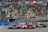 2017 NASCAR Xfinity Series<br /> Service King 300<br /> Auto Club Speedway, Fontana, CA USA<br /> Saturday 25 March 2017<br /> Kyle Busch, NOS Energy Drink Toyota Camry and Justin Allgaier restart<br /> World Copyright: Russell LaBounty/LAT Images<br /> ref: Digital Image 17FON1rl_3493