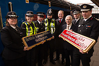 From left are Superintendent Sandra England, British PC Beth Sykes, Chief Inspector Stuart Middlemass and PC Adam Ashton all from British Transport Police, Jake Kelly, MD of East Midlands Trains, Councillor Brian Grocott, Chair of the Fire Authority, Paul Crowther, Chief Constable, British Transport Police and<br /> John Buckley, Chief Fire Officer