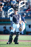 Everett AquaSox catcher Troy Dixon (34) during a Northwest League game against the Tri-City Dust Devils at Everett Memorial Stadium on September 3, 2018 in Everett, Washington. The Everett AquaSox defeated the Tri-City Dust Devils by a score of 8-3. (Zachary Lucy/Four Seam Images)