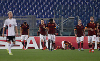 Calcio, Champions League, Gruppo E: Roma vs Bayer Leverkusen. Roma, stadio Olimpico, 4 novembre 2015.<br /> Roma's Mohamed Salah, bottom, celebrates after scoring during a Champions League, Group E football match between Roma and Bayer Leverkusen, at Rome's Olympic stadium, 4 November 2015.<br /> UPDATE IMAGES PRESS/Isabella Bonotto