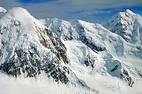Aerial view of mountains & snow, Denali National Park. Alaska United States Denali National Park.