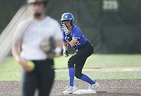 Rogers first baseman Kylee Ward (12) readies her stance to run to third, Thursday, April 29, 2021 during a softball game at Bentonville High School in Bentonville. Check out nwaonline.com/210430Daily/ for today's photo gallery. <br /> (NWA Democrat-Gazette/Charlie Kaijo)