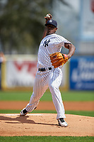 New York Yankees starting pitcher Luis Severino (40) delivers a pitch during a Spring Training game against the Detroit Tigers on March 2, 2016 at George M. Steinbrenner Field in Tampa, Florida.  New York defeated Detroit 10-9.  (Mike Janes/Four Seam Images)