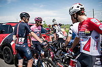The 15th stage came to an abrupt halt after just a few minutes (3km) of racing following a large crash that forced the race to temporarily be neutralized as medical assistence was temporarily stretched to the max. <br /> Egan Bernal (COL/Ineos Grenadiers) waiting for the race to restart.<br /> <br /> 104th Giro d'Italia 2021 (2.UWT)<br /> Stage 15 from Grado to Gorizia (147km)<br /> <br /> ©kramon